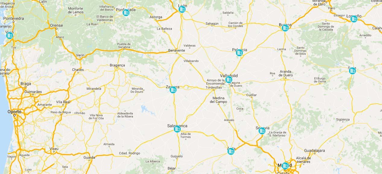 Clica sobre el mapa para ver dónde está la delegación más próxima
