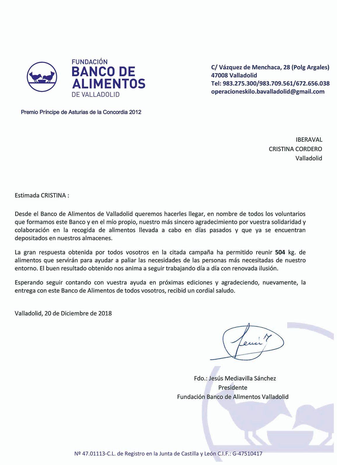 Carta agradecimiento Banco de Alimentos