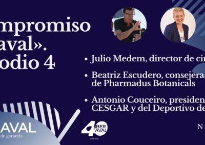 El cineasta Julio Medem, el presidente de CESGAR y del Deportivo de La Coruña, Antonio Couceiro, y la empresaria berciana Beatriz Escudero, en el episodio 4 de Compromiso Iberaval