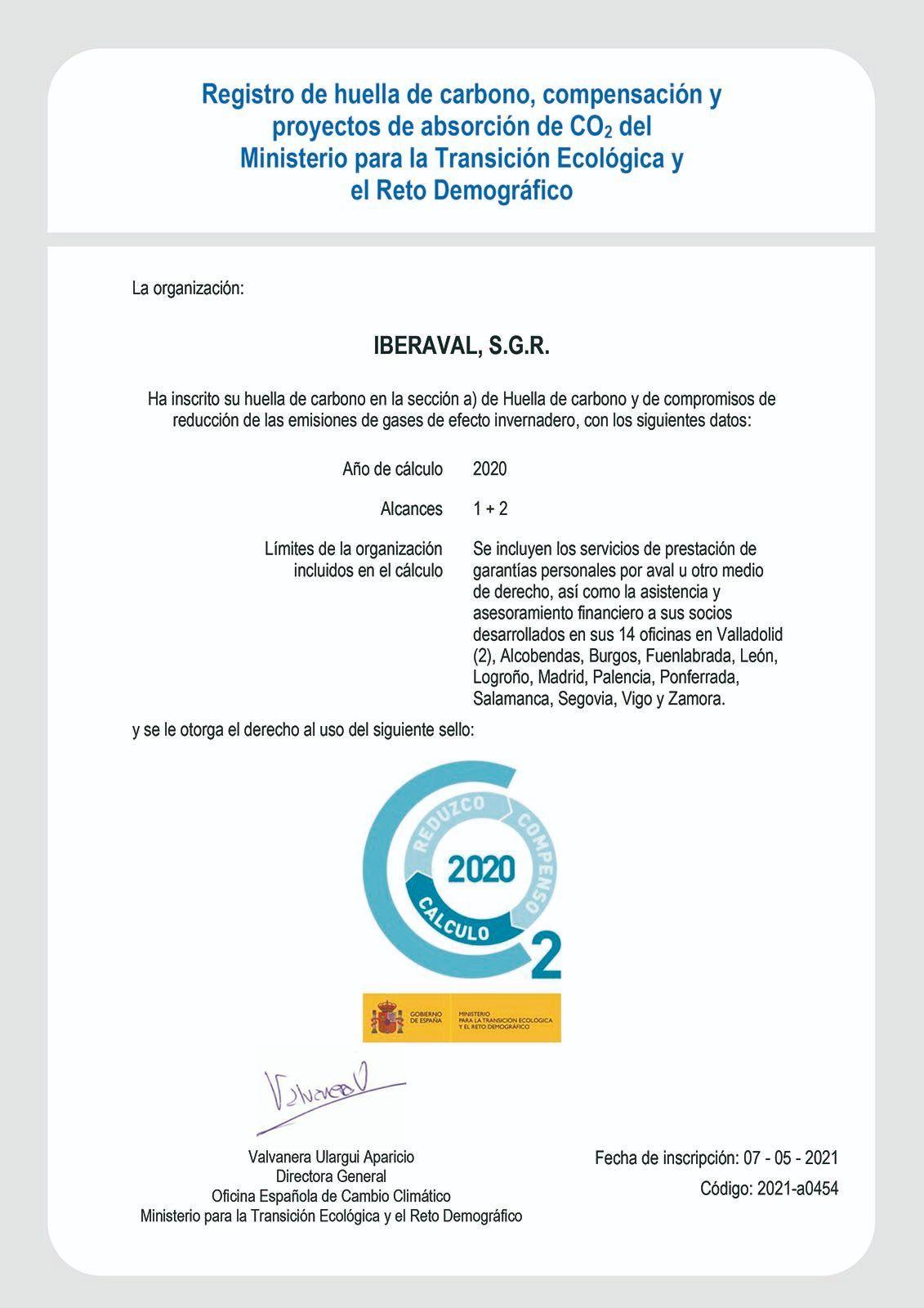 Certificado Huella de Carbono